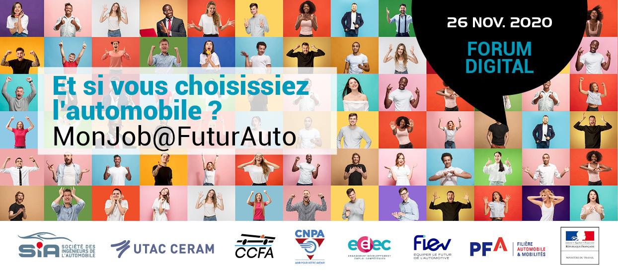 Bandeau publicitaire MonJob@FuturAuto, Forum digital se déroulant le 26 novembre 2020